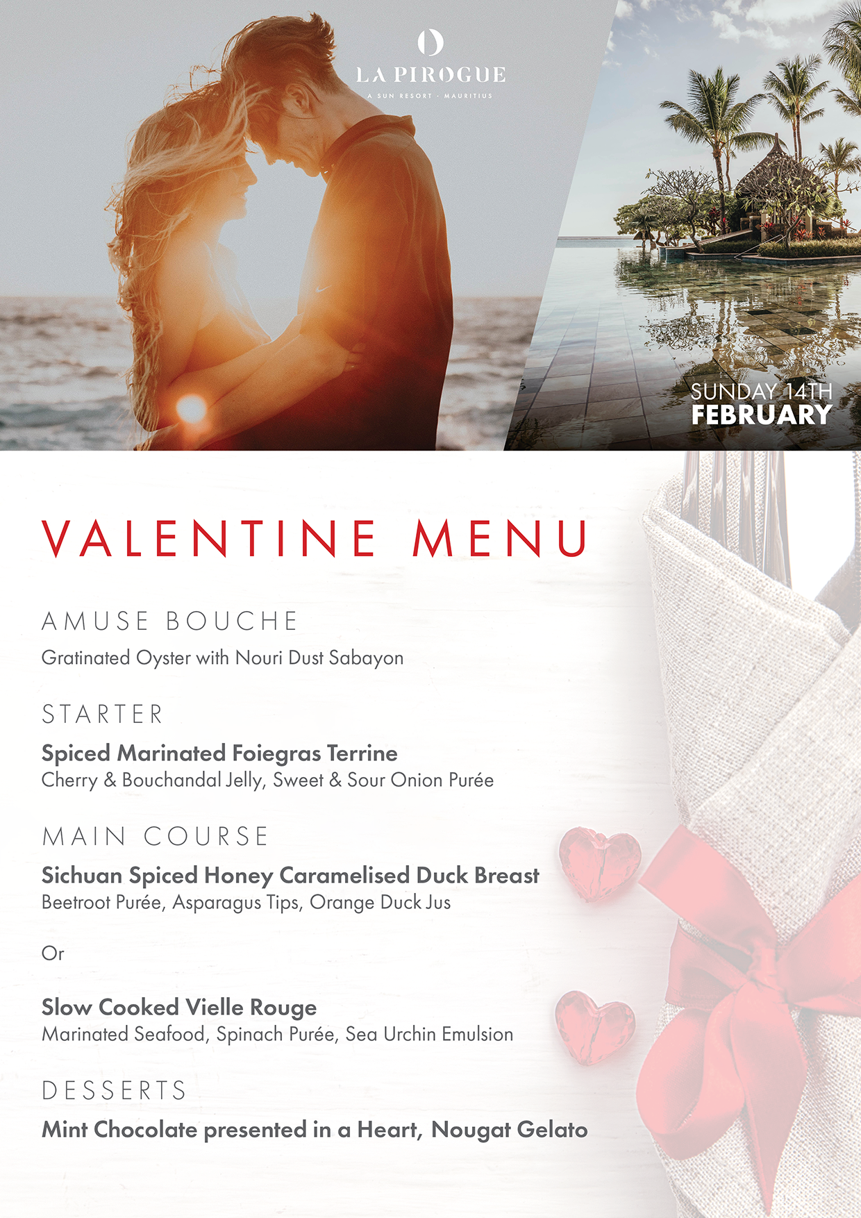 Valentine dinner at La Pirogue