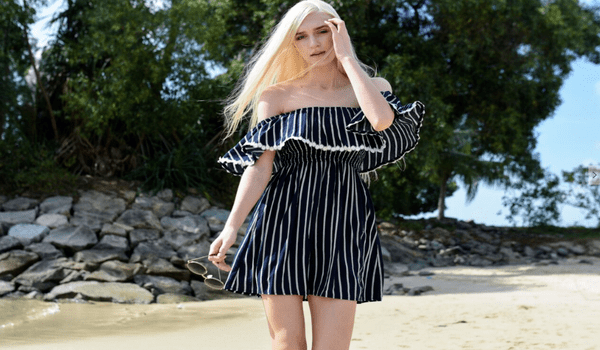 Stripes Off-Shoulder Dress