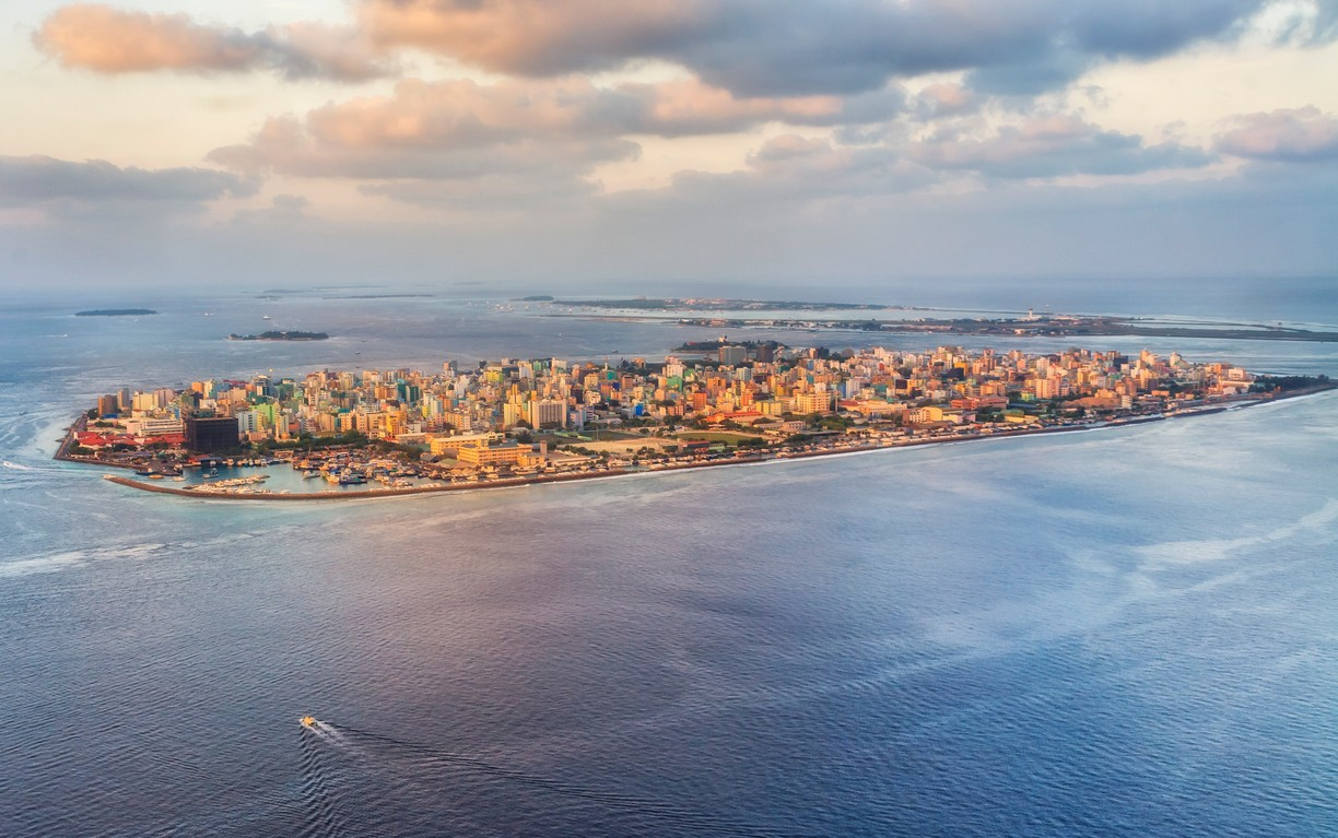 male capital of maldives islands aerial view