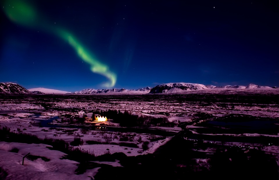 aurora borealis view iceland - northern lights