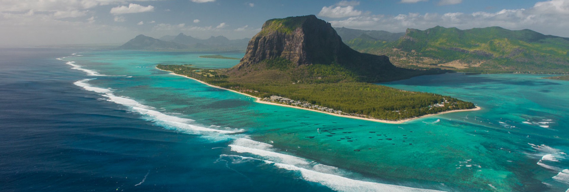 le morne branbant and beach aerial view