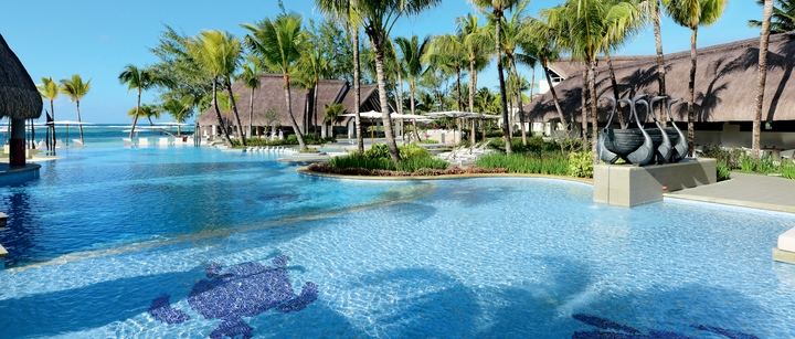view from the pool at ambre hotel mauritius - adult only