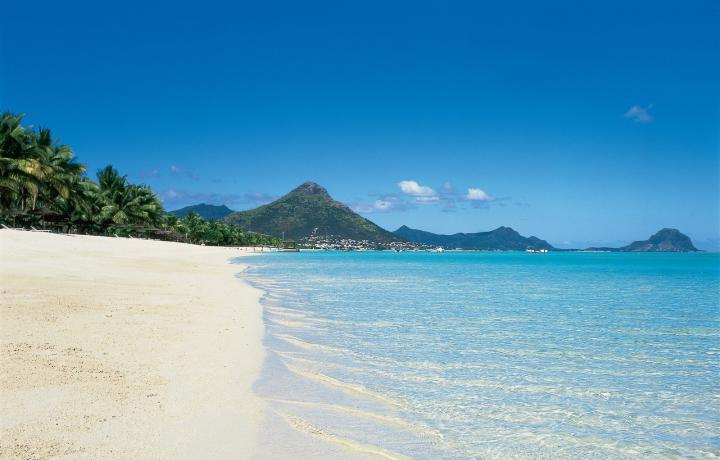 View of Le Morne Brabant from the beach of La Pirogue Mauritius
